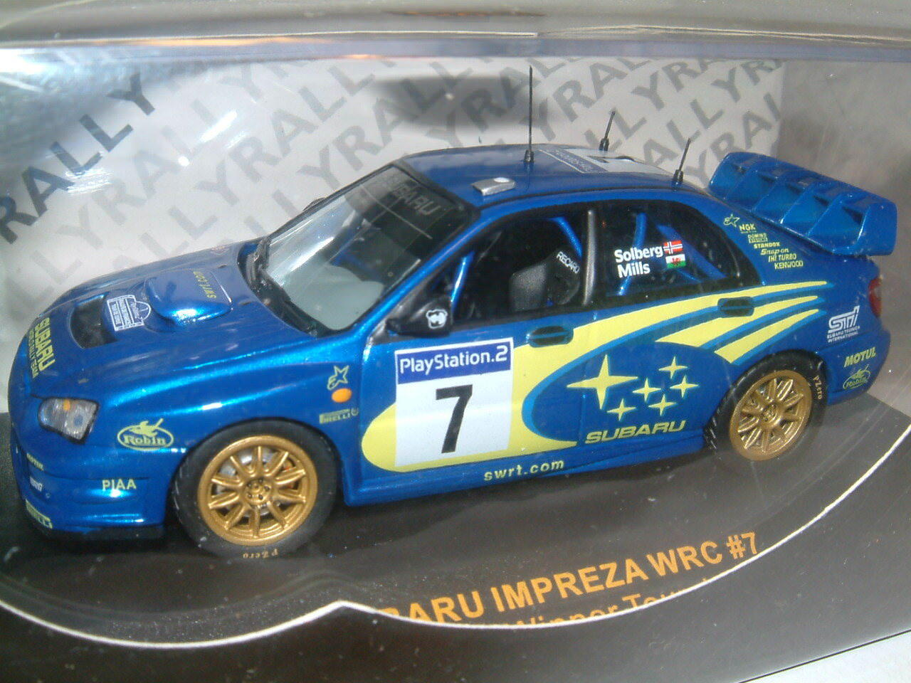 1 43 SUBARU IMPREZA WRC,2003 TOUR DE CORSE RALLY, SOLBERG MILLS. IXO RAM128