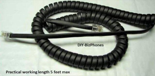 Allworx 25 Ft Long Handset Curly Phone Cord 9224 9212L 9204 9204G 9202E Black