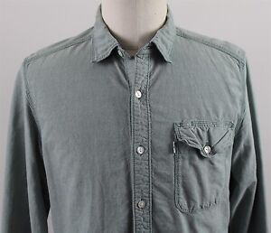 NEW-Levi-039-s-Regular-Fit-L-S-Chambray-Button-Up-Shirt-MENS-LARGE-Green-Cotton