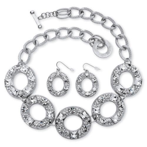 2 Pièces Cristal Cercle Collier et Boucles D/'Oreilles Set en Silvertone
