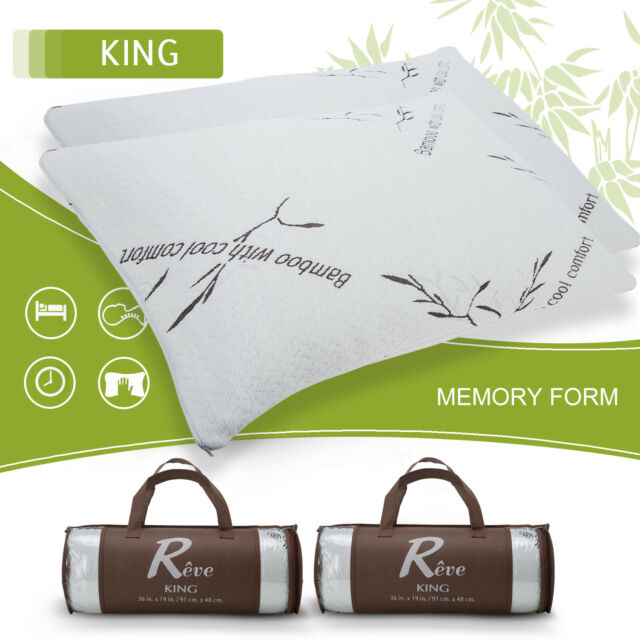 2 Pack Bamboo Memory Foam Bed Pillow King Size Hypoallergenic Cool