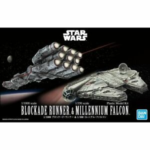 Bandai-Star-Wars-1-1000-Blockade-Runner-amp-1-350-Millennium-Falcon-Model-Kit-New