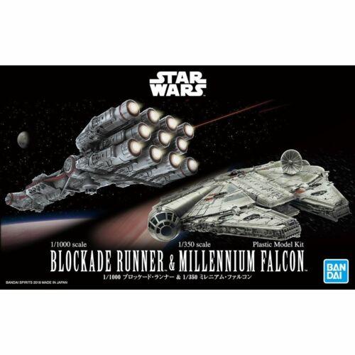 Bandai Star Wars 1//1000 Blockade Runner /& 1//350 Millennium Falcon Model Kit New