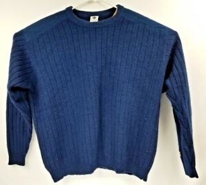 Mens-Columbia-Sweater-100-Shetland-Wool-Large-Shoulder-Patches-Sleeve-Pocket-A