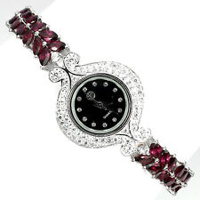Sterling Silver 925 Genuine Natural Rhodolite & Lab Created Diamond Watch 7.5
