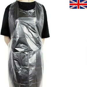 50 Clear Strong Disposable Polythene Waterproof Aprons PPE Flat Pack Catering