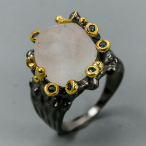 Blue Topaz Ring Silver 925 Sterling Vintage Size 8.5 /R130331