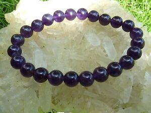 Bracelet AMETHYSTE  qualitée extra d'uruguay ! perles 8 mmLlithotérapi<wbr/>e Reiki