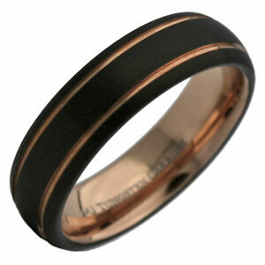 6mm Tungsten Carbide Rose Gold and Black Plated 2 Stripes Wedding Ring