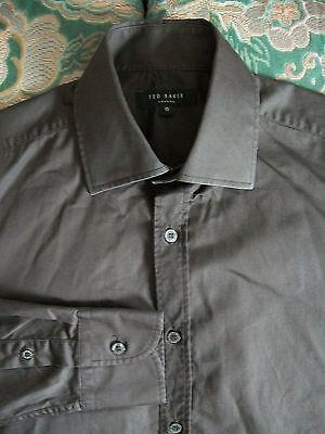 "Shirts Able Ted Baker London Men's Dark Chocolate Brown Formal Shirt 15"" 38cm B/c"