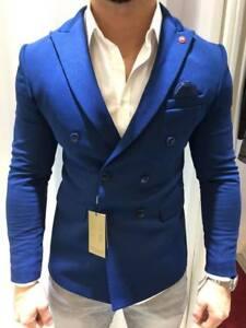 Details zu Designer Blau Zweireiher Doppelreiher Sakko Blazer Jacke Tailliert Slim Fit 52