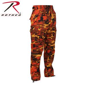 ORANGE CAMOFLAGE MEN ROTHCO BDU Pants Savage Orange Camo Military ... 9049a3a25c1