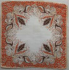 SILK CREPE VINTAGE HANDKERCHIEF HANKIE MOD 1950s 1960s BEIGE ORANGE ART NOUVEAU
