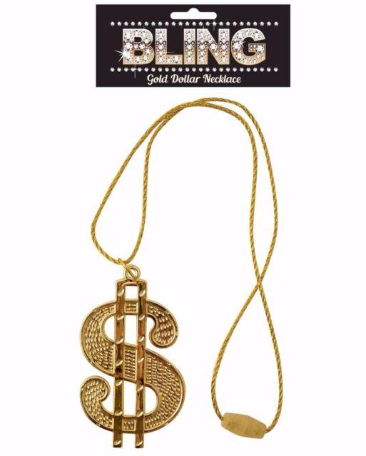 Gold Dollar Medallion Necklace 70s Disco 80s Rapper Gangster Fancy Dress Bling