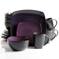 16 32 Piece Dinnerware Set Stylish Square Purple Plates Bowls Mugs Dinner Table
