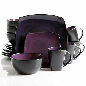 Image is loading 16-32-Piece-Dinnerware-Set-Stylish-Square-Purple-  sc 1 st  eBay & 16 32 Piece Dinnerware Set Stylish Square Purple Plates Bowls Mugs ...