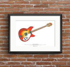 George Harrison's 1964 Rickenbacker 360/12 guitar ART POSTER A2 size