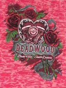 '15 Double Graphic Burnout TShirt Lady Biker VTwin Deadwood BlackHills SD HOtPnk