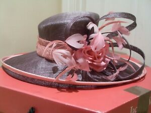 Jacques-Vert-Mother-of-the-Bride-DIANTHUS-Salmon-Pink-Mauve-Wedding-Hat-amp-Box