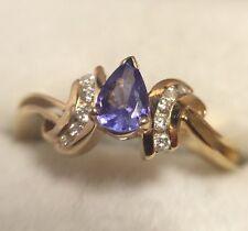 14k Yellow Gold 3/4 Carat Pear Tanzanite Diamond Cocktail Wedding 585 Ring 8 3/4