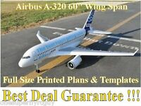 Airbus A-320, 60 Giant Scale Rc Airplane Full Size Printed Plans & Templates