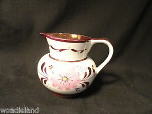 Old-Castle-White-Copper-Luster-Floral-Small-Creamer-England
