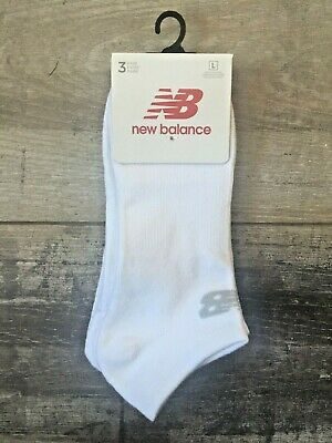 ead1a697353e9 Details about New Balance Mens No Show Trainer Socks 3-Pack White Cotton  Large Size UK 9-11