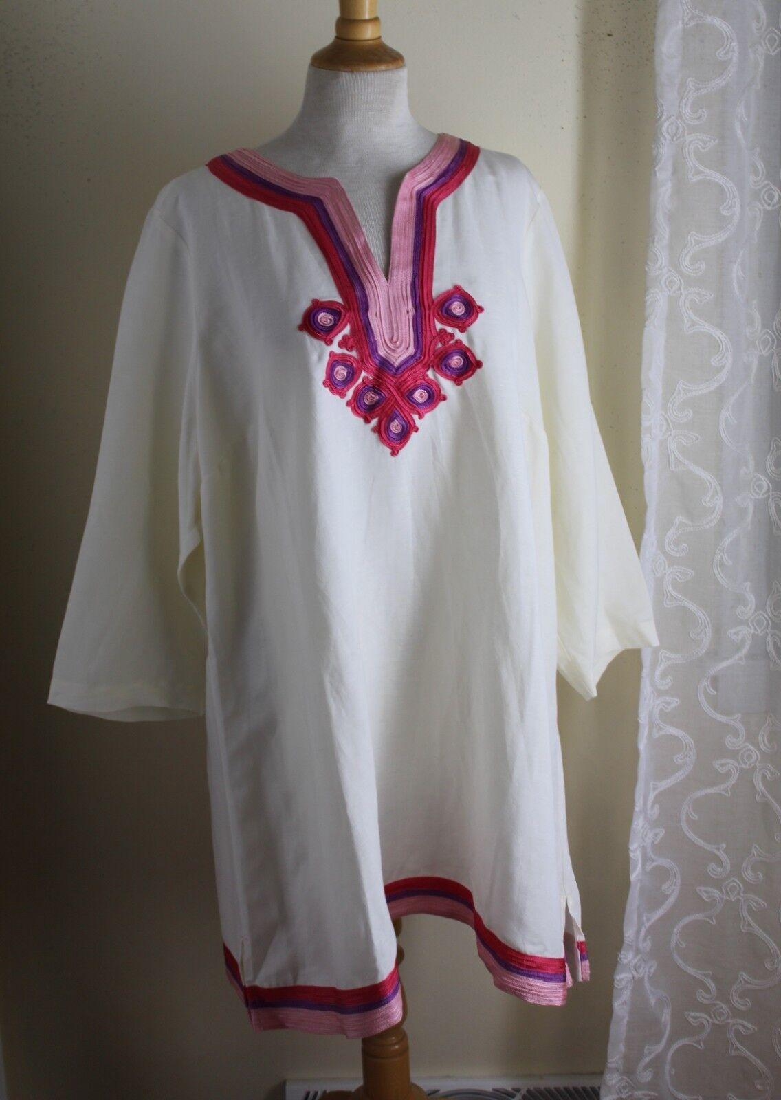 Isaac Mizrahi -Sz 2X Rich Ivory Woven Persian Linen Tunic Shirt Top Art-Wear