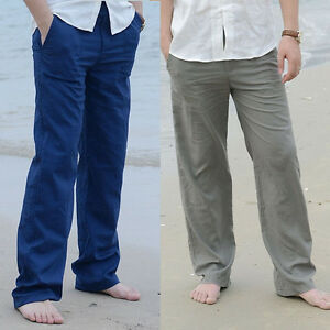 603cd04021 Men Gent Linen Pants Trousers Loose Beach Casual Drawstring Slacks ...