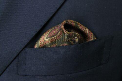pure silk Battisti Pocket Square  Mauve with olive /& beige paisley