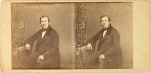 STEREO Portrait d'un homme ca 1858 Atelier, Photo Vintage Albumine