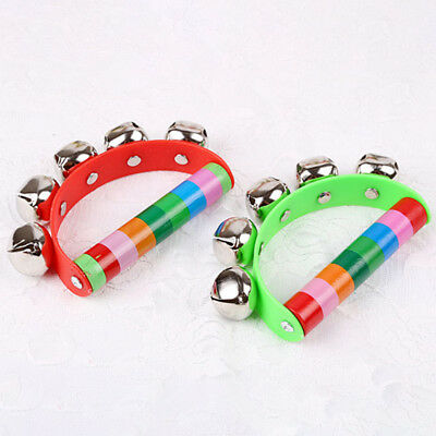 Rainbow Musical Instrument Baby Toy Wooden  Round Hand Jingle Ring Bell Rattle