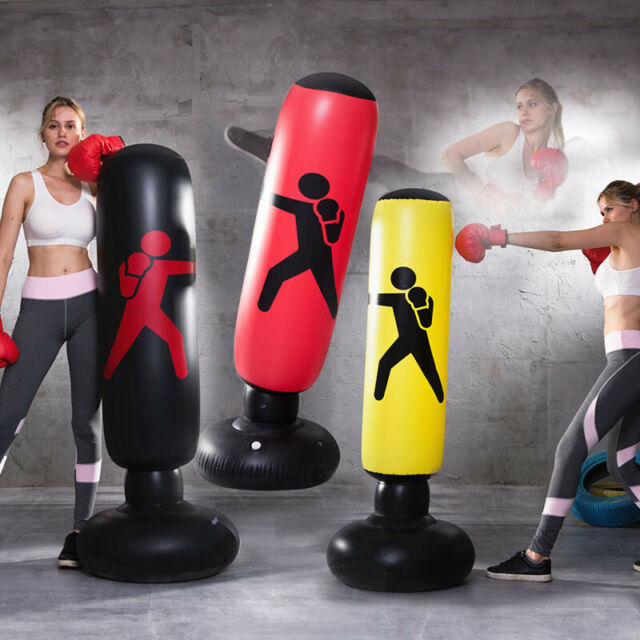 cuepar Thick Tumbler Stand-alone Boxing Punching Bag Inflatable Boxing Column Fitness Sports Decompression Taekwondo Training Punching Bag Safe And Durable Foldable