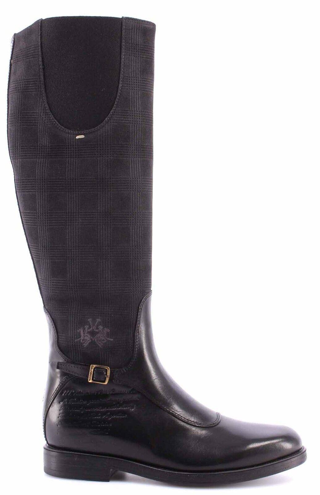 zapatos  MARTINA Botas De Mujer LA MARTINA  L2181284 Cuero Nero Camo Antracite Galle Negro ee3eee