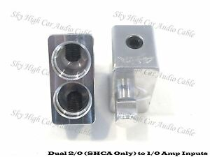 Pair of Sky High Car Audio Dual 2/0 Gauge to 1/0 AWG Gauge Amp Input Reducers