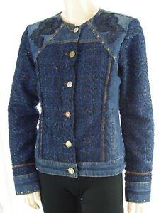 Blouson DESIGUAL CHAQ EXOTIC TWEED jeans femme jacket 17WWED30 ... a307b6c18f1b