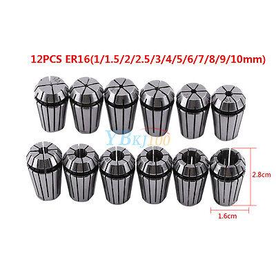 12Pcs ER16 1-10mm Precision Spring Collet Set for CNC Milling Lathe Chuck Tool