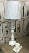 Tall White Shabby French Vintage Chic Wooden Table Lamp With BOW