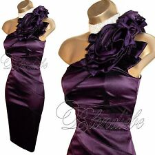 KAREN MILLEN Exquisite PURPLE Satin ROSE Corsage DRESS UK 14  Weddings Races