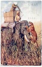 Edgar .H. FISHER . La chasse aux tigres . Tiger Hunting . OILETTE