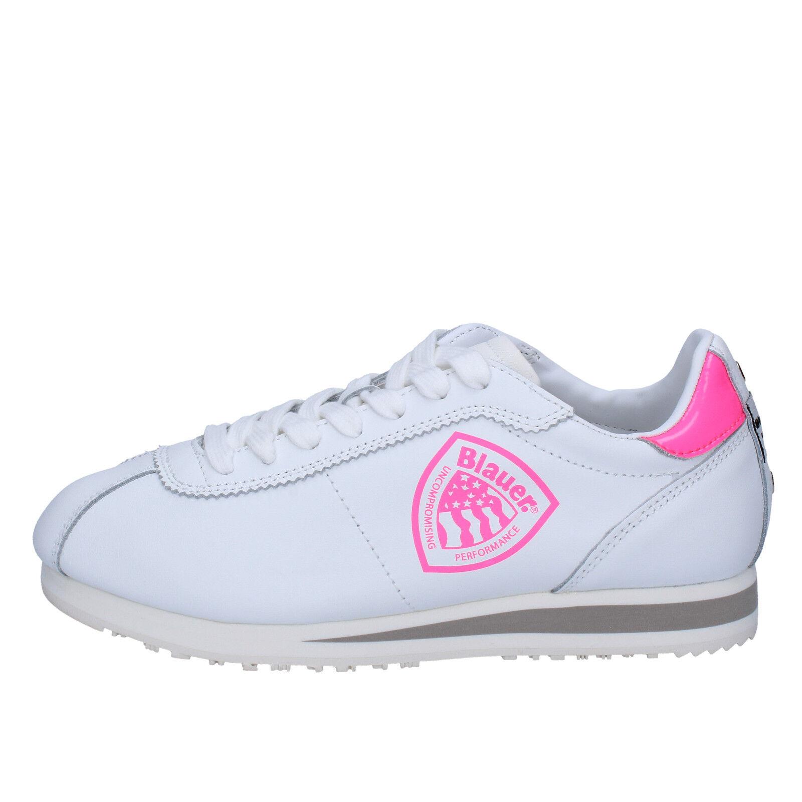 Scarpe donna BLAUER USA USA BLAUER pelle 37 scarpe da ginnastica bianco rosa pelle USA   90378a