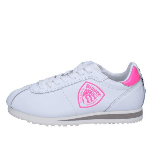scarpe donna BLAUER USA 37 sneakers bianco rosa pelle sintetica AB817-C