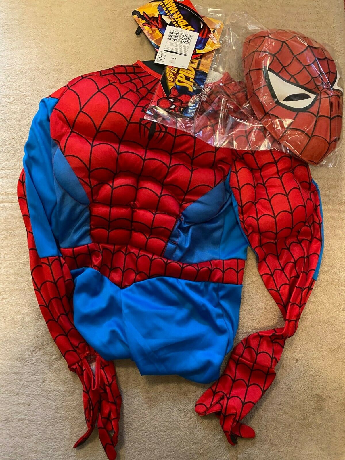 Spiderman costume with mask Age 7-8 NEW