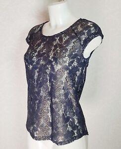 ZARA-metallic-Gold-Blue-lace-Round-neck-short-sleeve-open-back-top-blouse-8-10