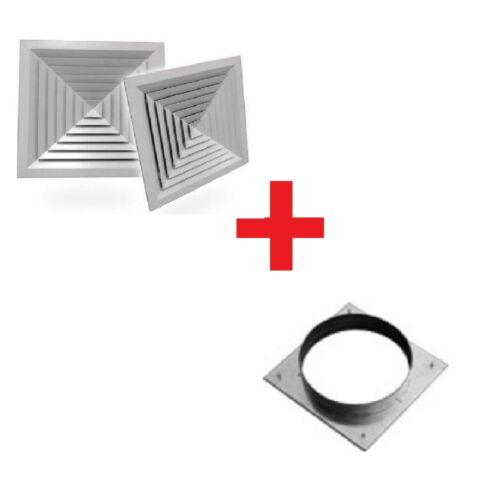 DUCT SQUARE 4 WAY LAY-IN CELILING AIR DIFFUSER WITH ADAPTER   Mode:LD4 375x375mm