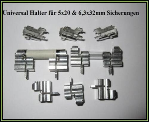 Fuse clips portafusible universal 5x20 & 6,3x32mm 16a 600v 10 trozo