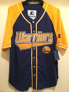 new product dc8dd 16bec Details about Golden State Warriors Baseball Jersey by STARTER -THE PLAYER  BASEBALL Jersey-NBA