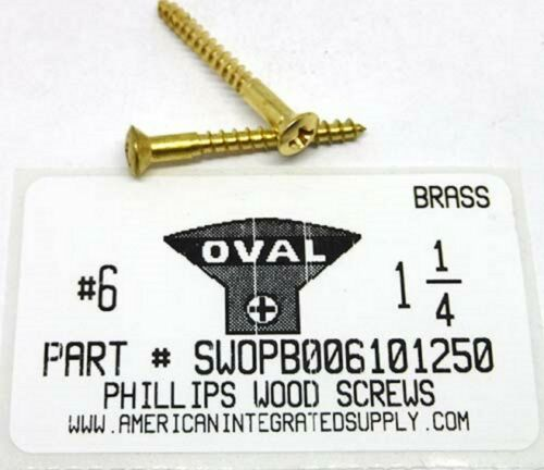 #6x1-1//4 Oval Head Phillips Wood Screws Solid Brass 20
