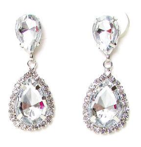 Silber Diamant Tropfen Ohrstecker Ohrringe Kristall Hochzeit Braut