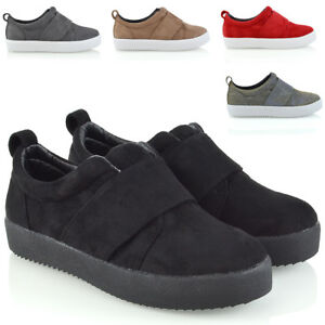 Womens-Slip-On-Sneakers-Pumps-Ladies-Crossover-Band-Trainers-Comfy-Shoes-Size